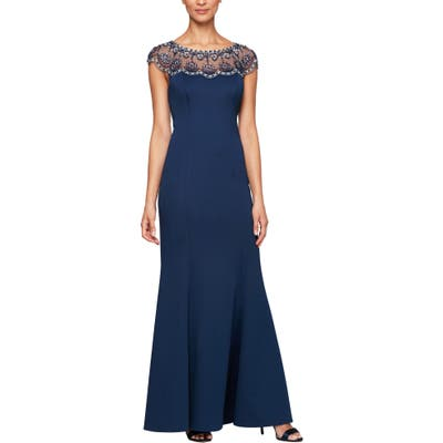 Alex Evenings Beaded Illusion Neck Trumpet Gown, Blue
