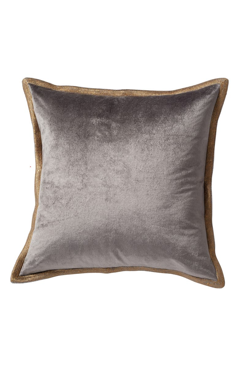MICHAEL ARAM Metallic Trim Velveteen Accent Pillow, Main, color, GREY