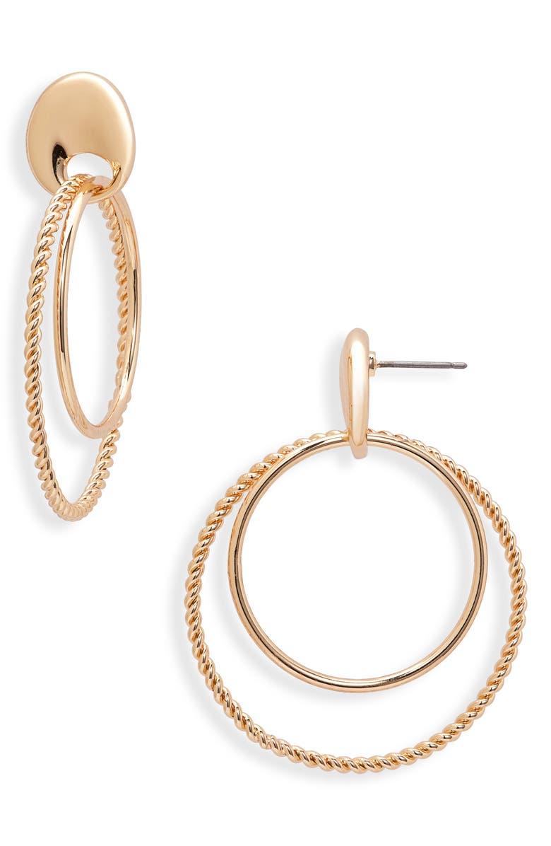 NORDSTROM Double Drop Hoop Earrings, Main, color, GOLD