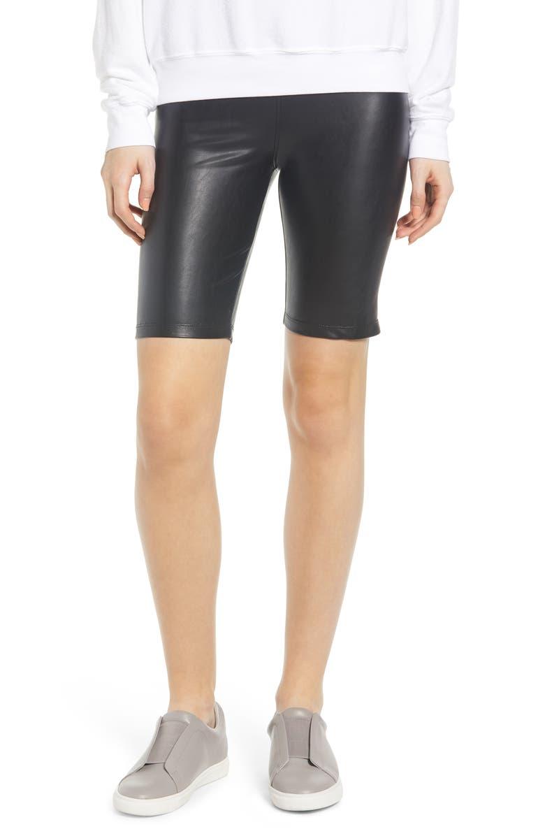 DAVID LERNER Stretch Faux Leather Bike Shorts, Main, color, BLACK