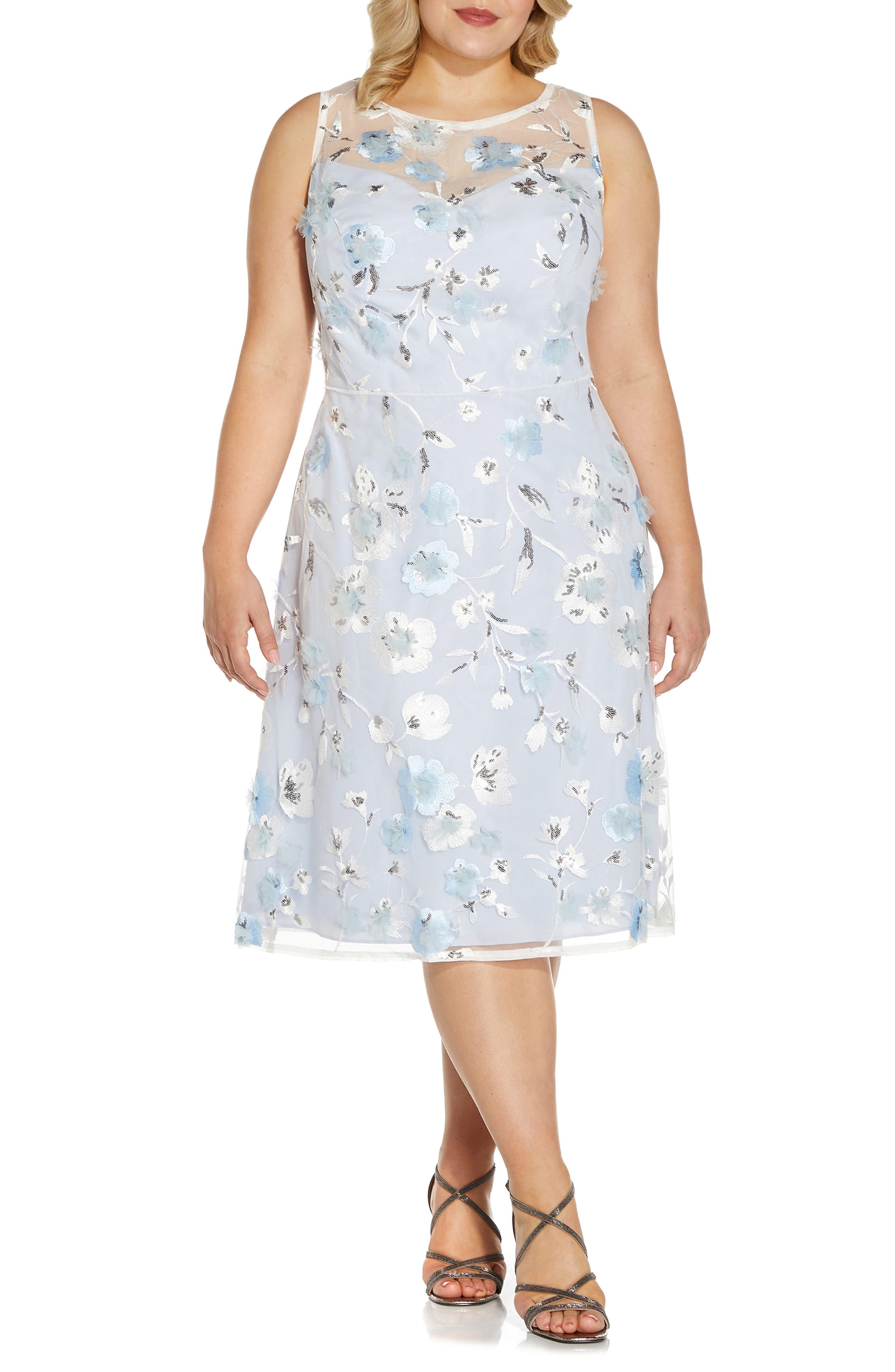 Embroidered Sleeveless Fit & Flare Midi Dress