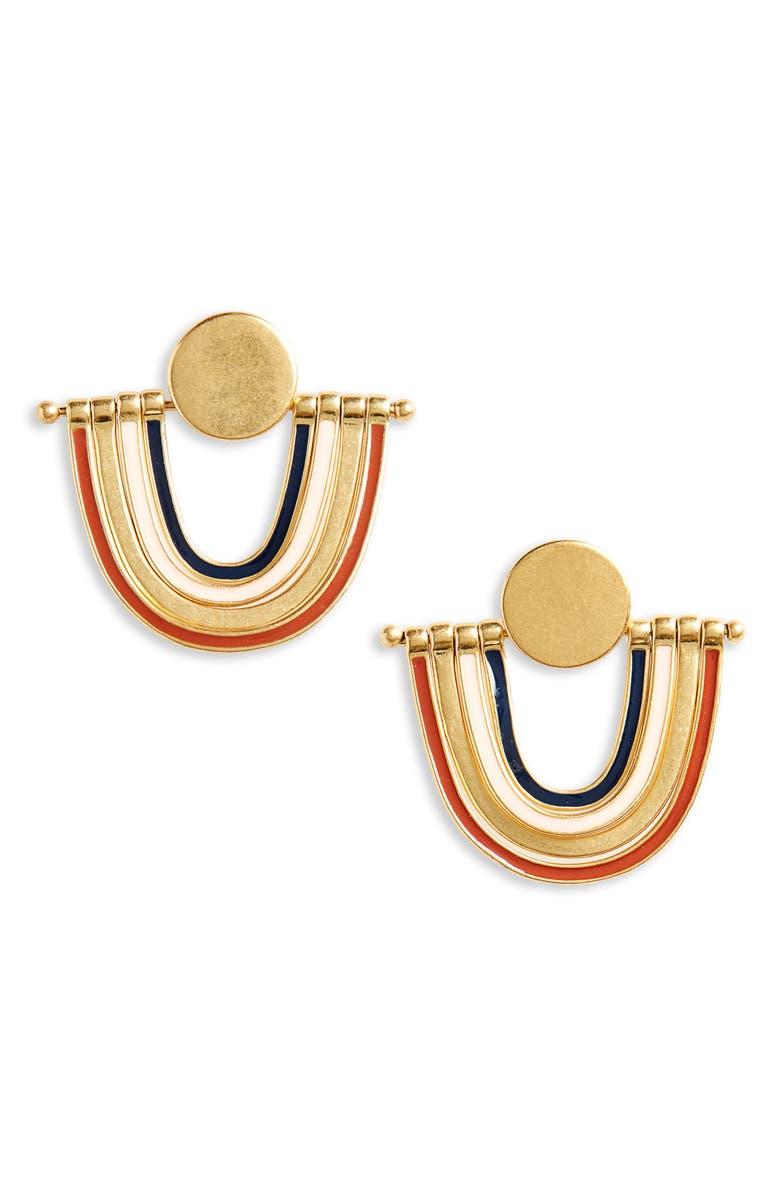 MADEWELL Enamel Rainbow Earrings, Main, color, BLUE NIGHT MULTI