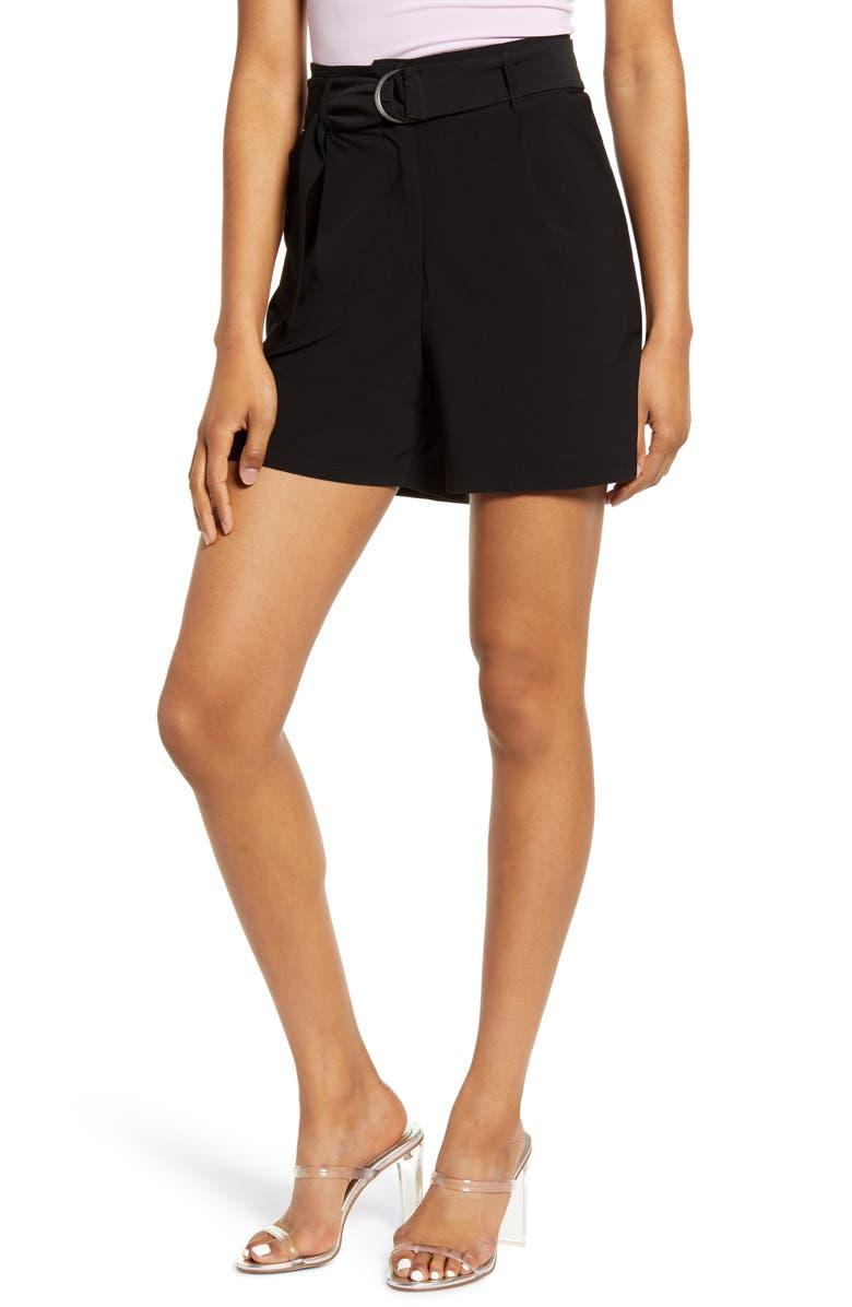 LEITH High Waist Shorts, Main, color, BLACK