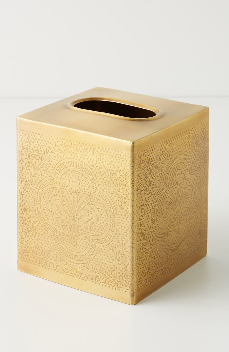 ANTHROPOLOGIE Cyra Bath Tissue Box Cover, Main, color, GOLD