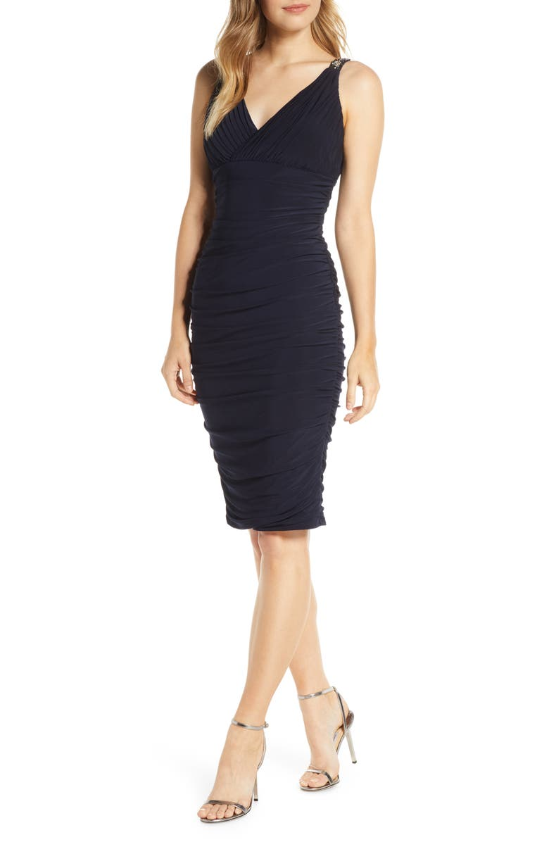 ELIZA J Sleeveless Ruched Body-Con Dress, Main, color, BLACK