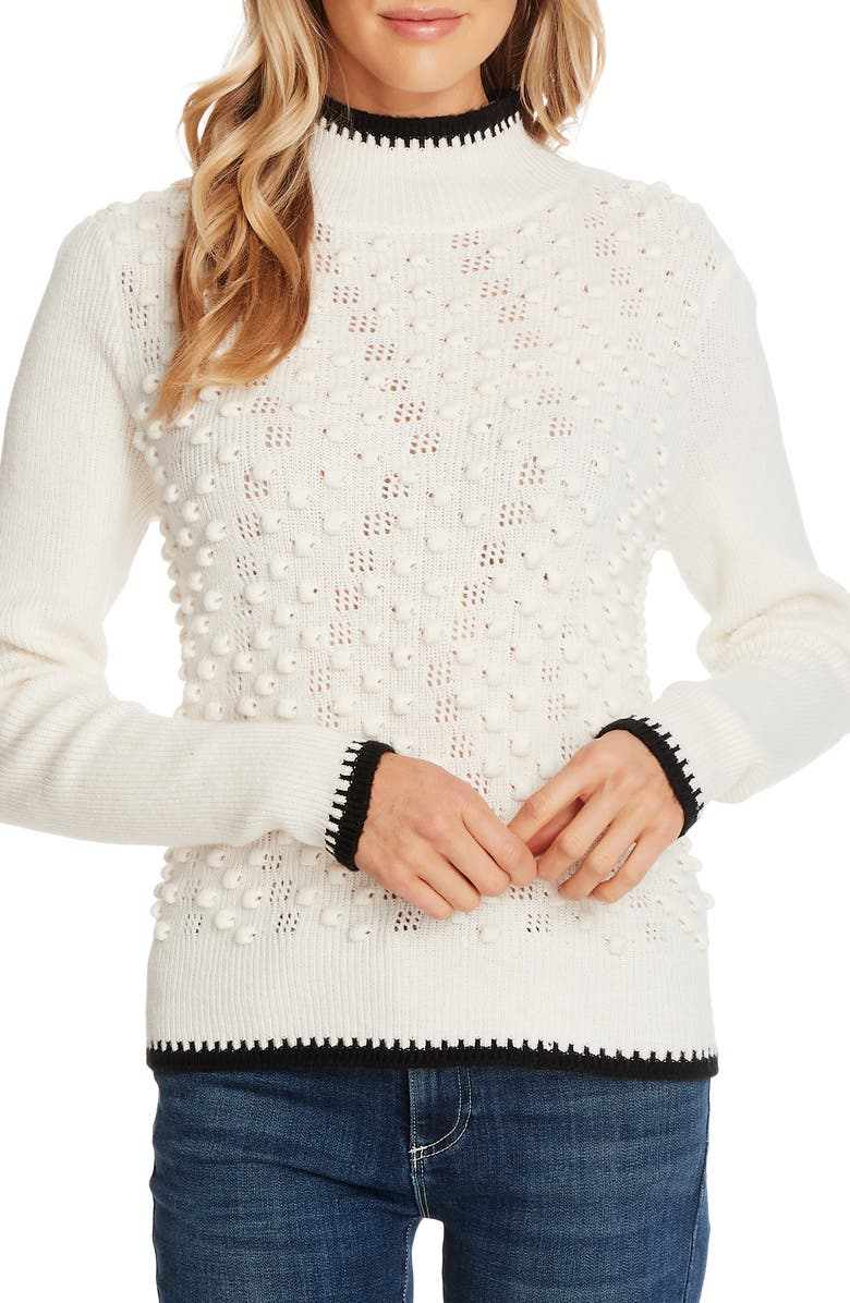CECE Tipped Turtleneck Sweater, Main, color, ANTIQUE WHITE