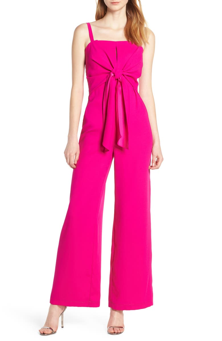 HARLYN Tie Front Jumpsuit, Main, color, MAGENTA