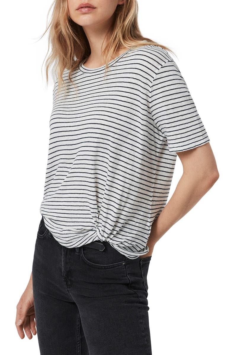 ALLSAINTS Wilma Stripe Linen Blend Tee, Main, color, CHALK/ INK