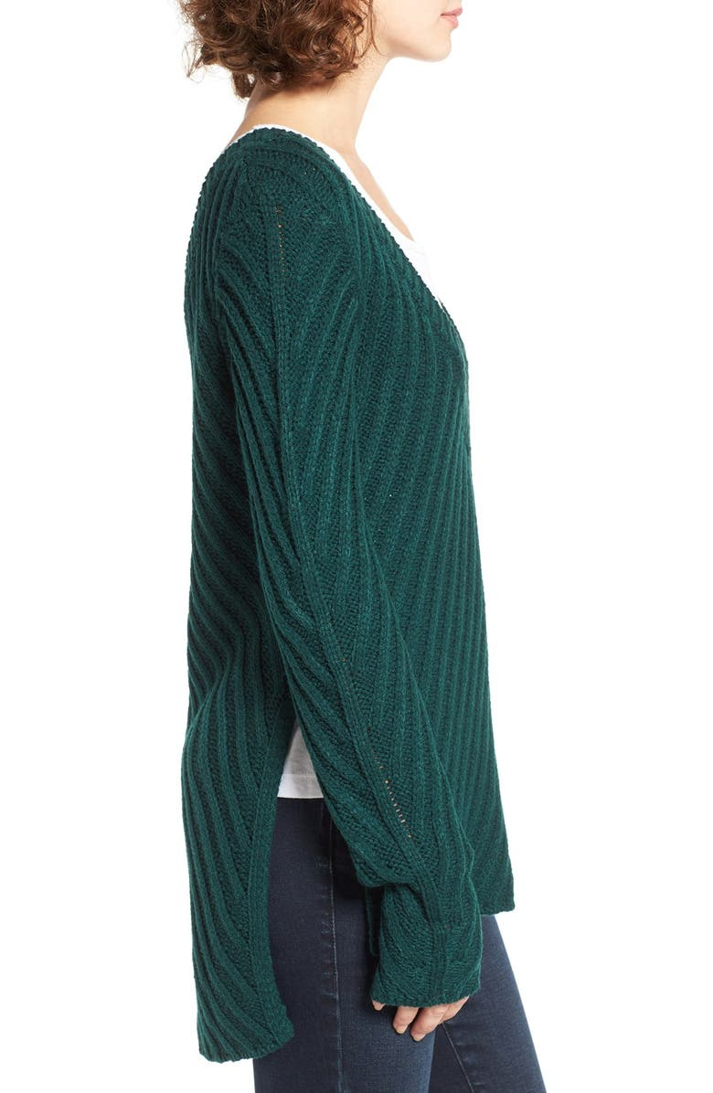 WOVEN HEART Plunging V-Neck Pullover, Main, color, HUNTER GREEN