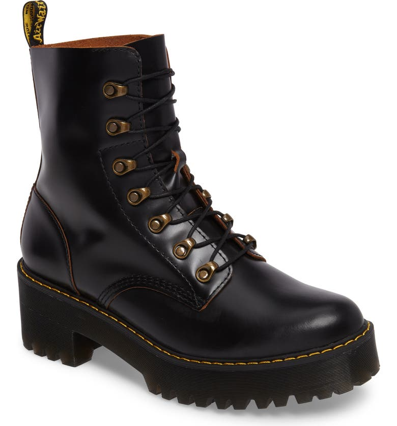 DR. MARTENS Leona Heeled Boot, Main, color, BLACK SMOOTH