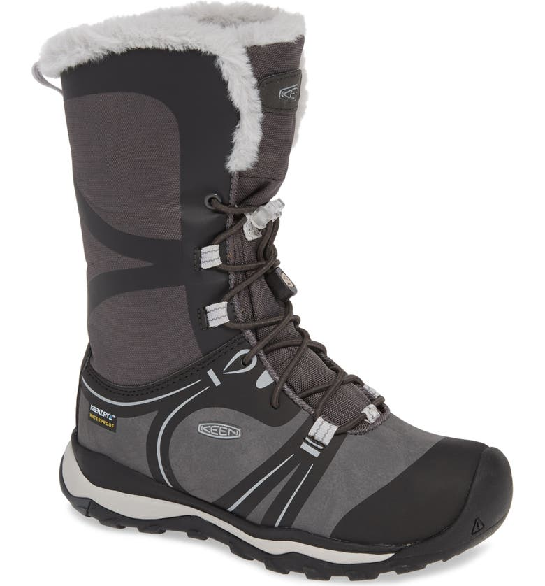 KEEN Terradora Faux Fur Trim Waterproof Snow Boot, Main, color, RAVEN/ VAPOR
