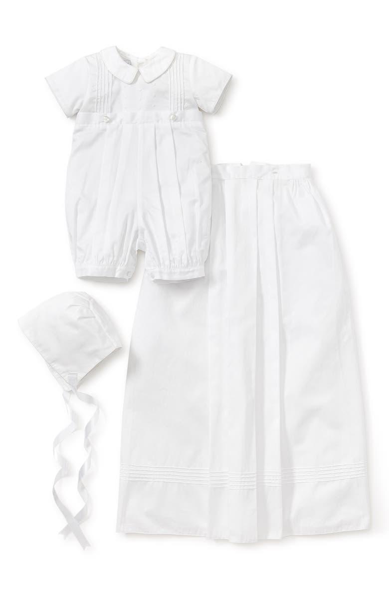 KISSY KISSY Graham Christening Romper, Detachable Skirt & Hat Set, Main, color, WHITE