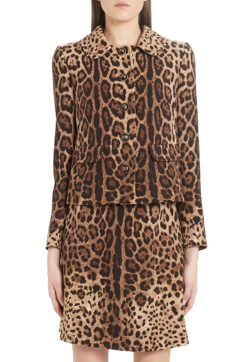 DOLCE&GABBANA Leopard Print Logo Button Wool Jacket, Main, color, 230