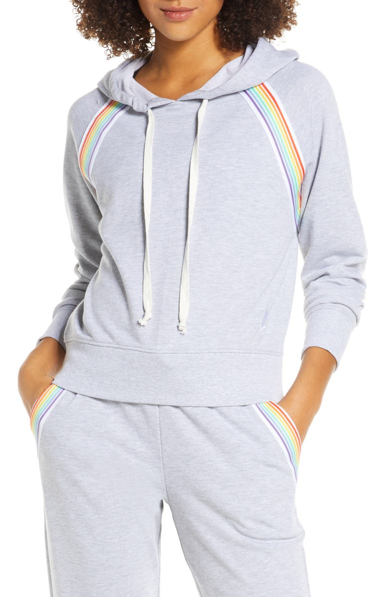 SOUL BY SOULCYCLE Rainbow Inset Hoodie, Main, color, HEATHER GREY