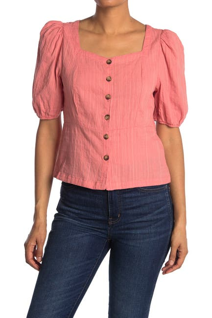 Image of MELLODAY Textured Woven Square Neck Blouse