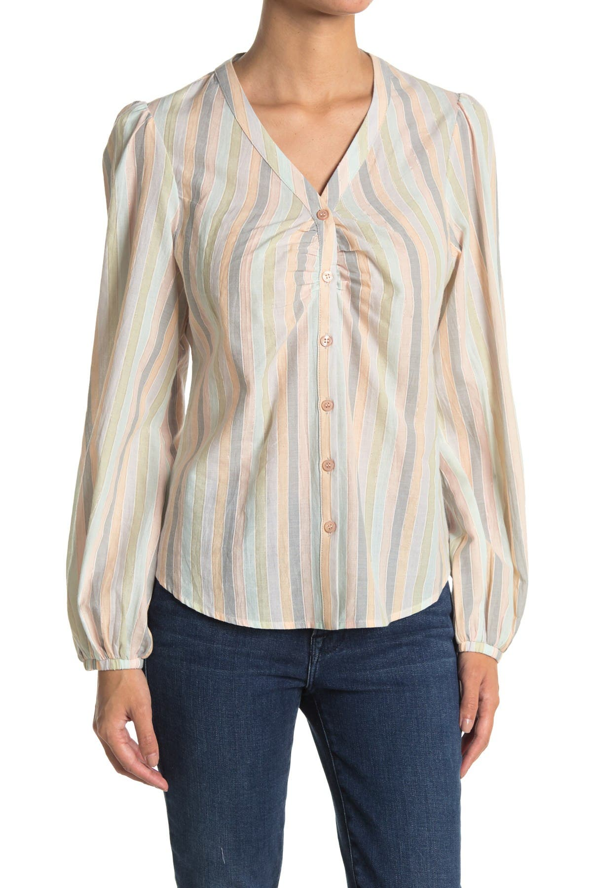 Image of Joe's Jeans Stripe Balloon Sleeve Shirt