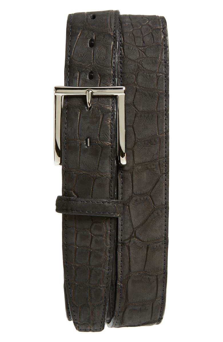 TORINO Alligator Leather Belt, Main, color, BLACK