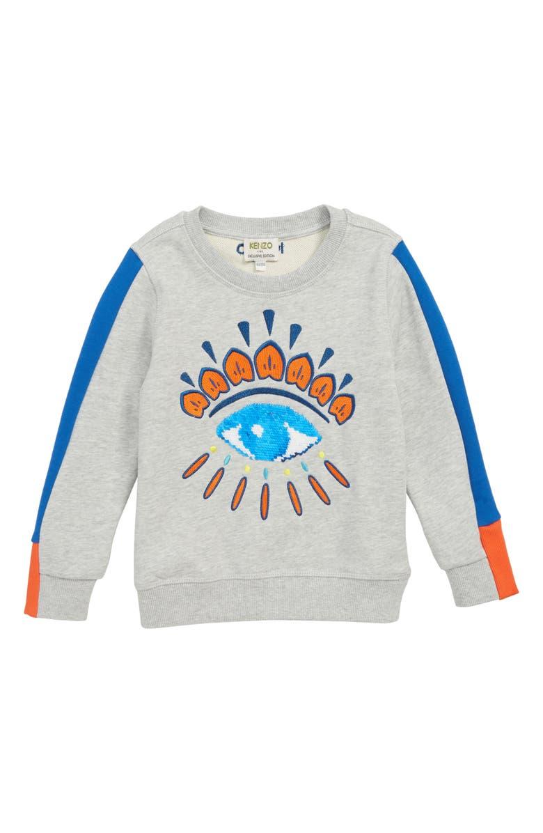 KENZO Flippable Sequin Eye Sweatshirt, Main, color, MARL GREY