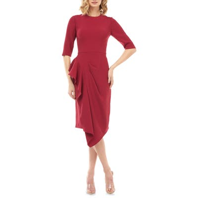 Kay Unger Mason Ruffle Sheath Dress, Red
