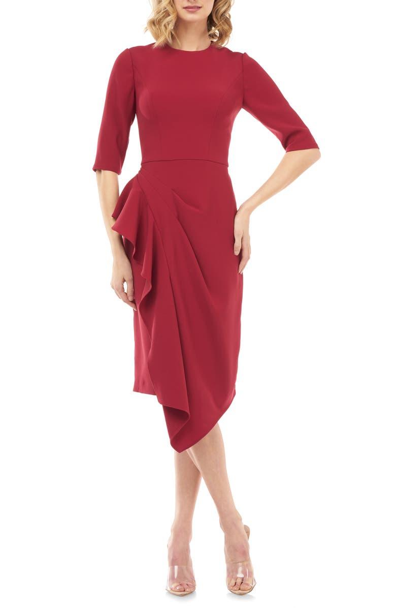 KAY UNGER Mason Ruffle Sheath Dress, Main, color, CRANBERRY