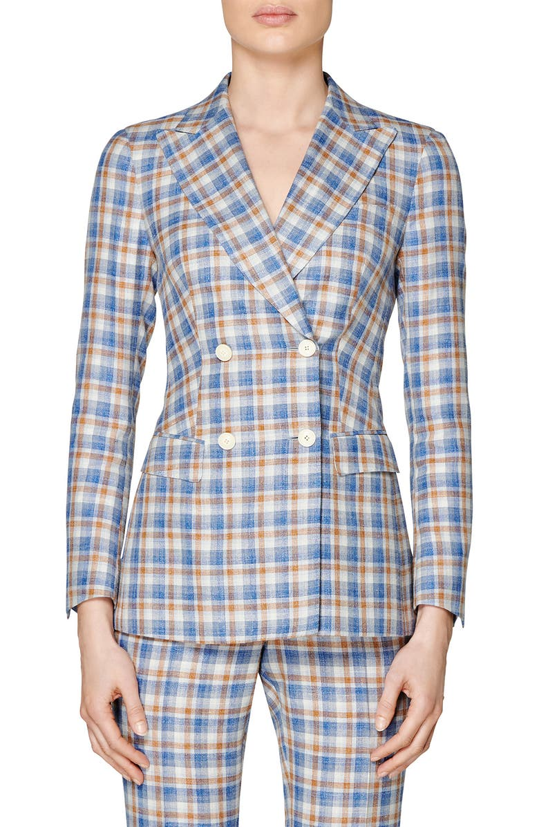SUISTUDIO Cameron Check Double Breasted Jacket, Main, color, BLUE/ BROWN CHECKED