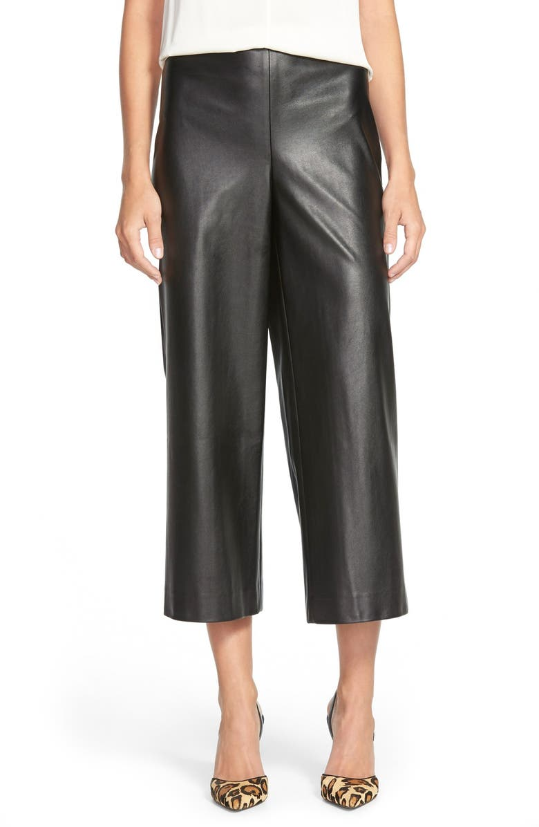 VINCE CAMUTO Side Zip Faux Leather Culottes, Main, color, 001