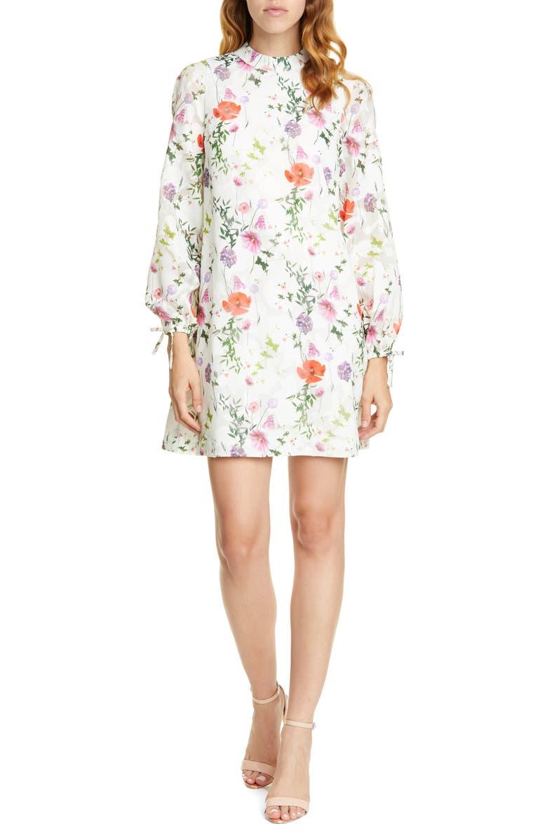 TED BAKER LONDON Imane Hedgerow Long Sleeve Tunic Dress, Main, color, 110