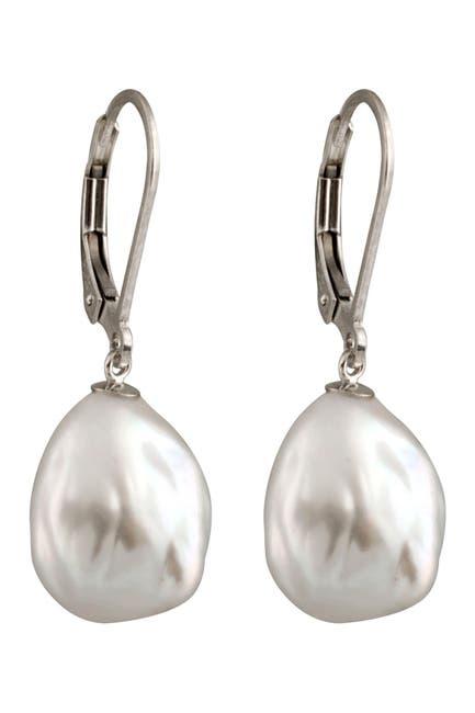 Image of Splendid Pearls 8-10mm Cultured Keshi Pearl Drop Earrings