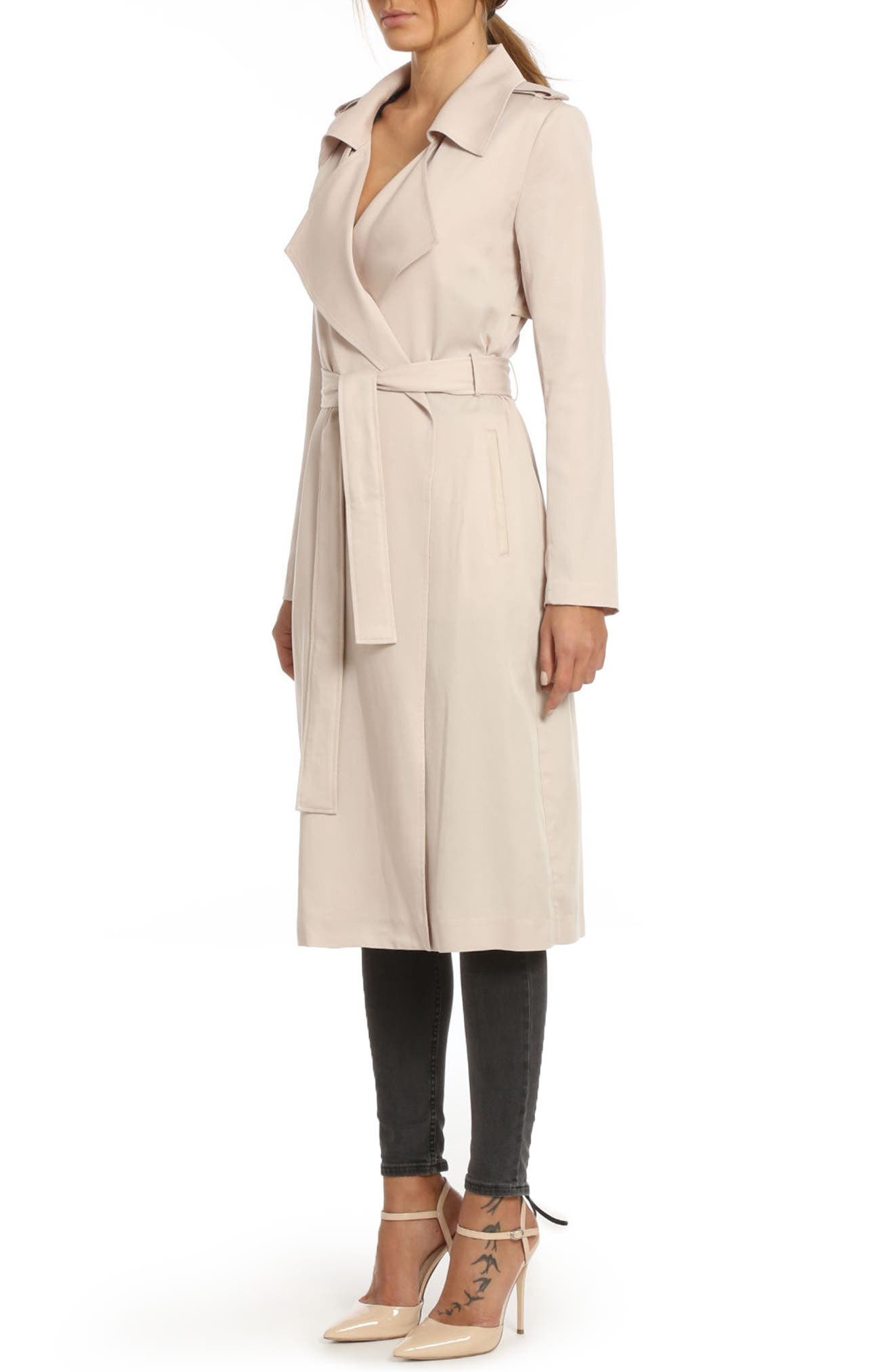 ,                             Badgley Mischka Faux Leather Trim Long Trench Coat,                             Alternate thumbnail 42, color,                             659