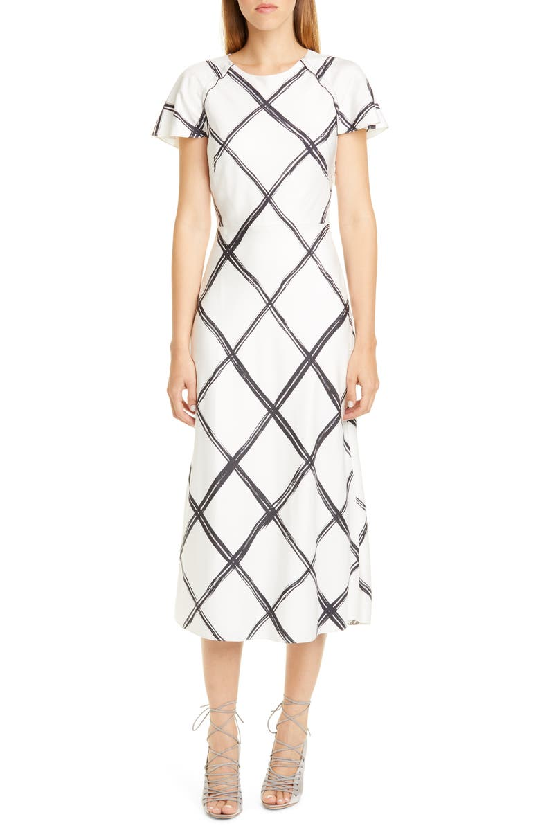 JASON WU COLLECTION Windowpane Print Silk Crêpe de Chine Midi Dress, Main, color, CHALK/ BLACK