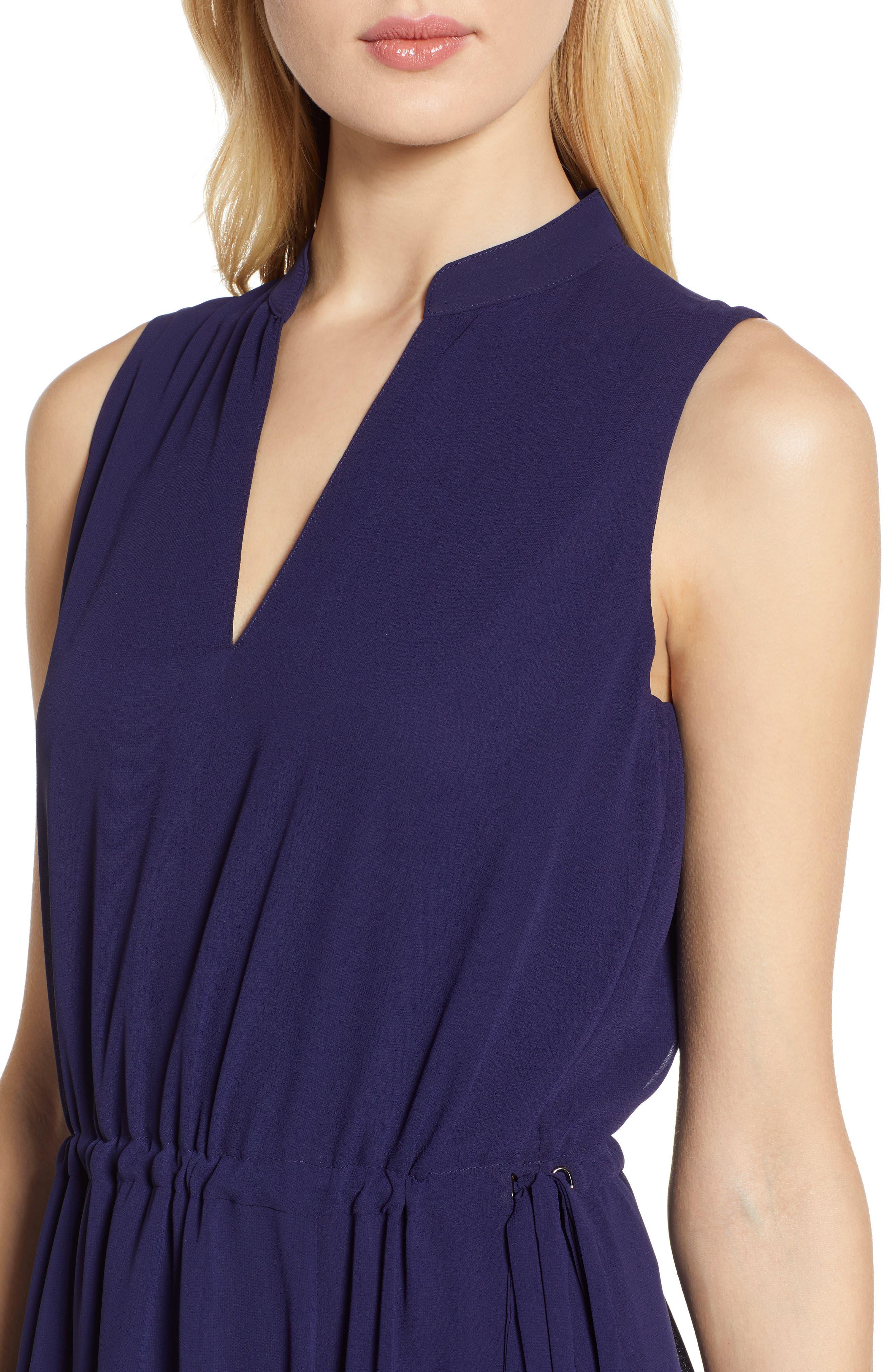 ,                             Chiffon Drawstring Midi Dress,                             Alternate thumbnail 5, color,                             DISTANT MOUNTAIN