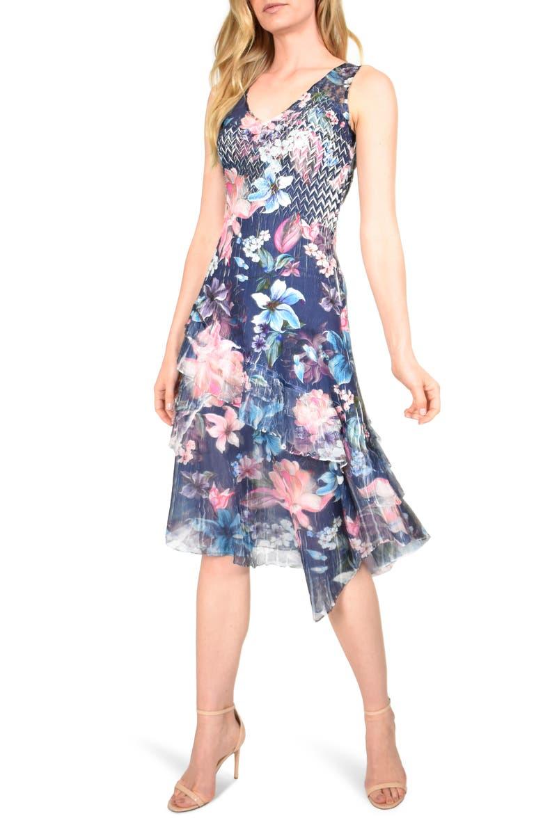 ceb3f5da88 Ruffle Trim Sleeveless Charmeuse Midi Dress, Main, color, NIGHT BLOOM