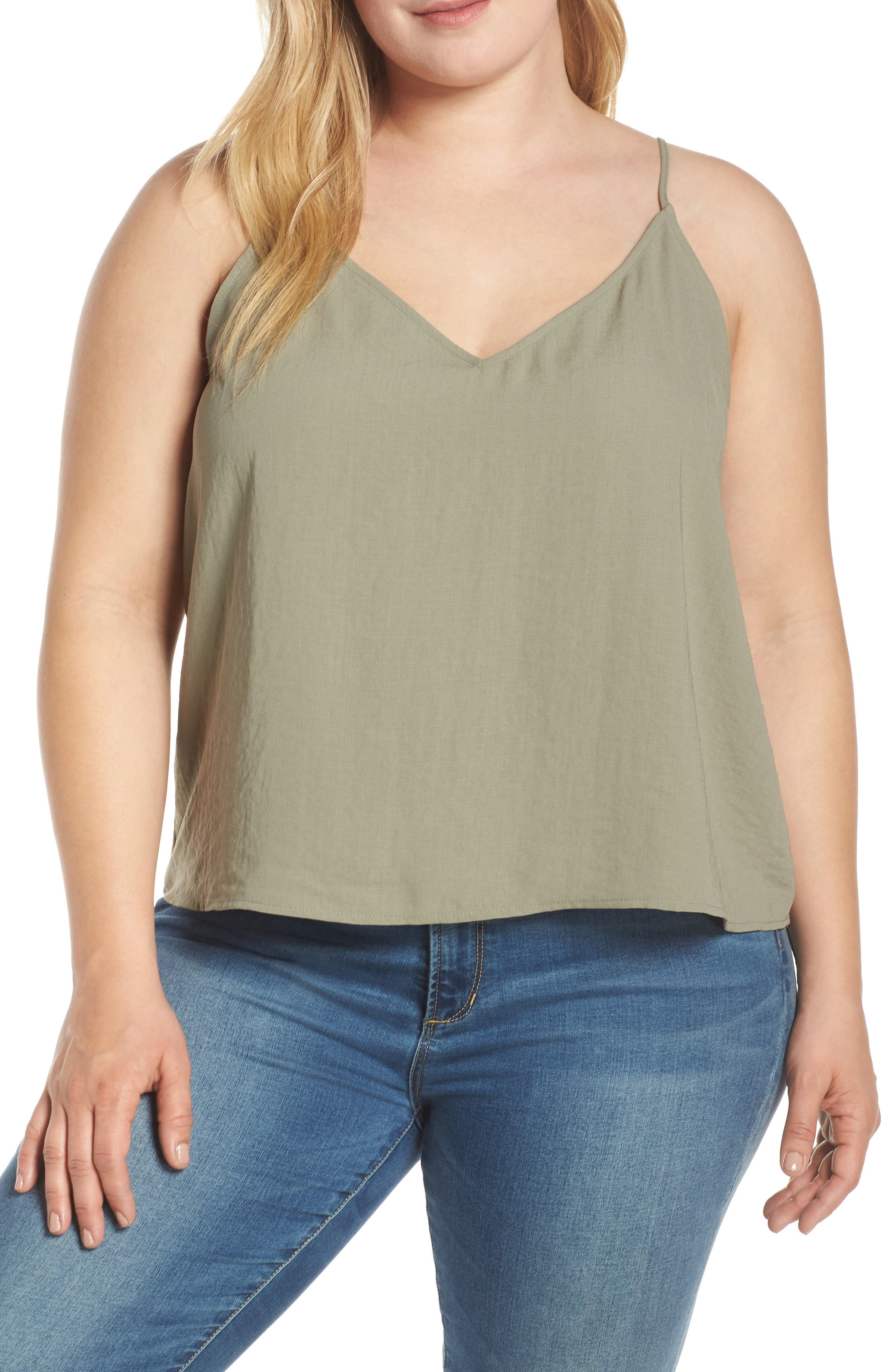 Plus Size Leith Deep V-Neck Camisole, Green