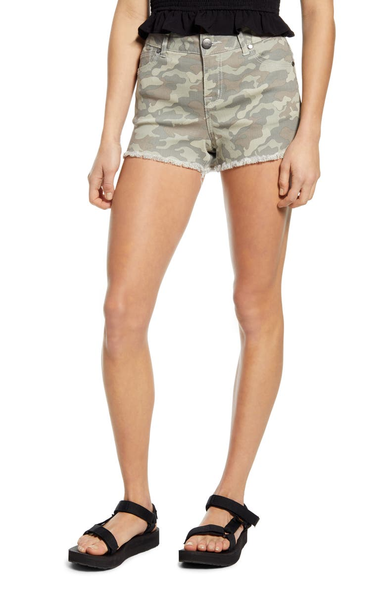 1822 DENIM Frayed Camo Denim Shorts, Main, color, 340