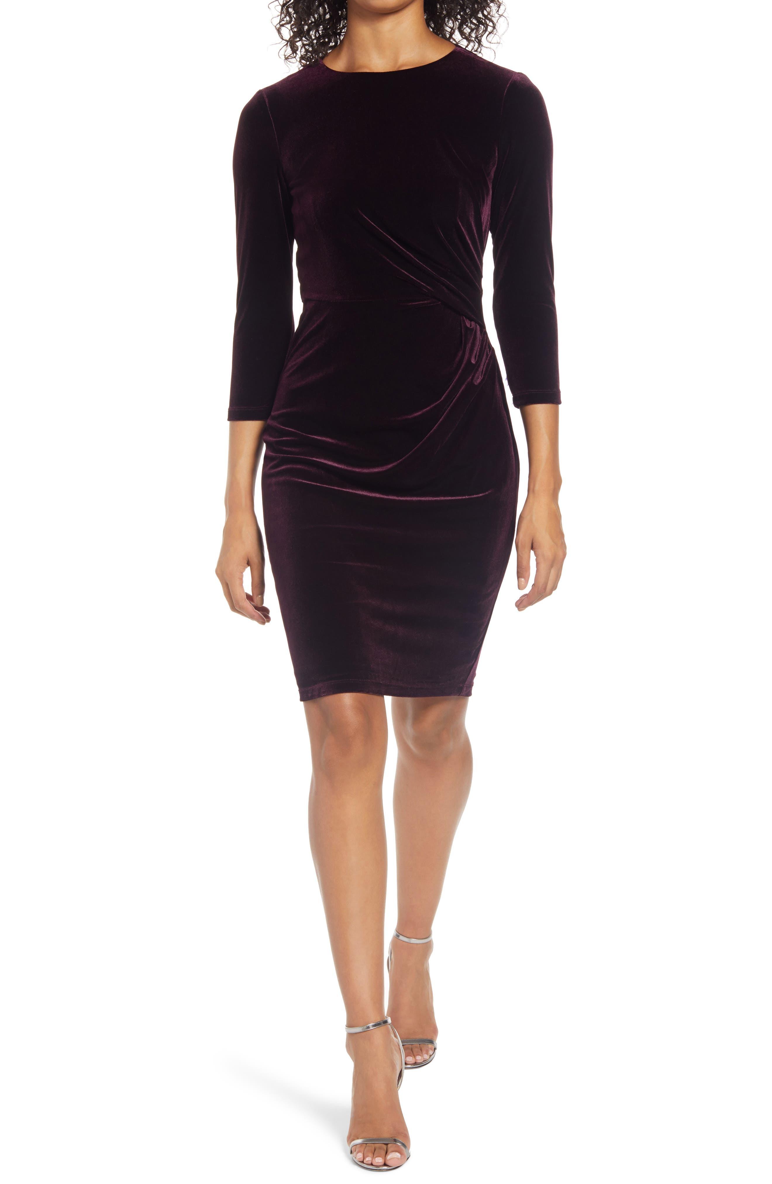 Velvet Sheath Cocktail Dress