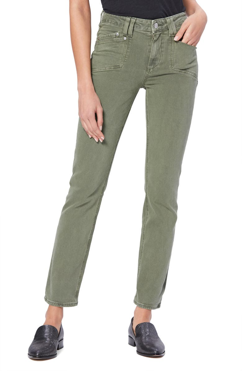PAIGE Cindy High Waist Ankle Straight Leg Jeans, Main, color, VINTAGE EMERALD MOSS