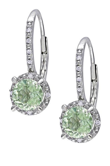 Image of Delmar Sterling Silver Diamond & Green Amethyst Earrings