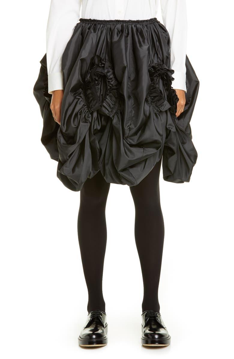 COMME DES GARÇONS Ruffle Draped Taffeta Skirt, Main, color, 001
