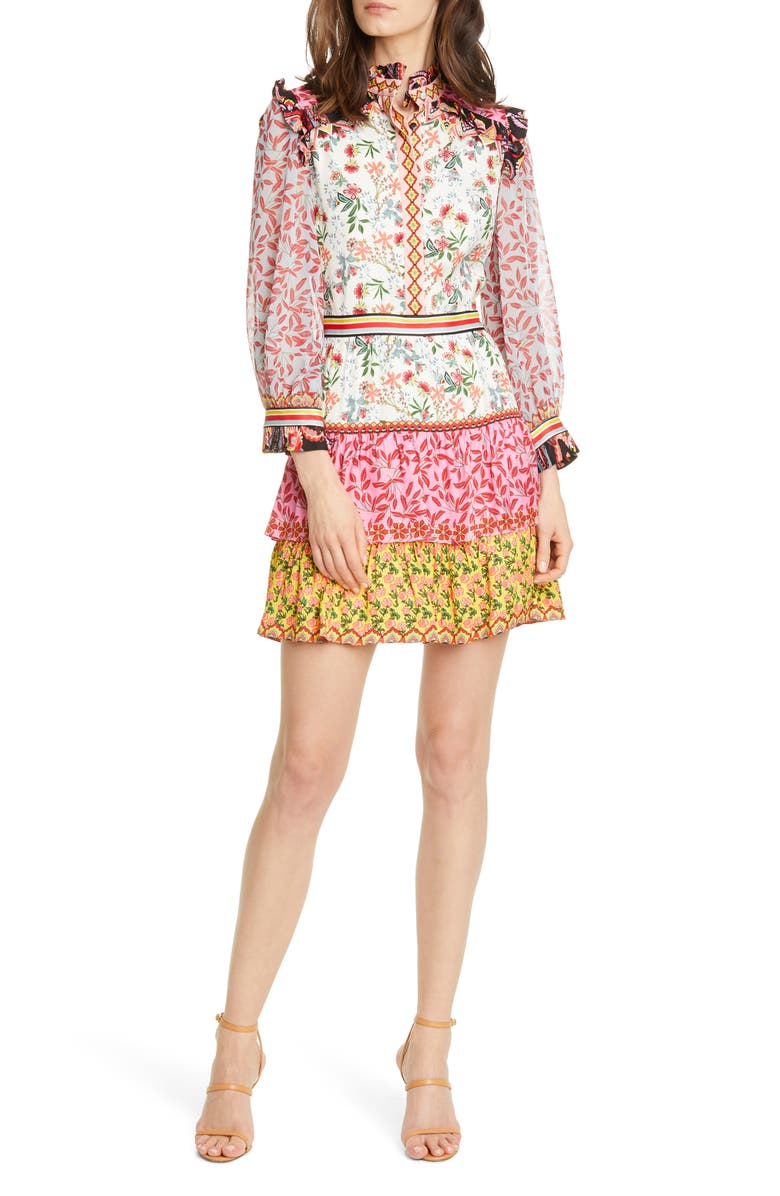 ALICE + OLIVIA Kathy Tiered Shirtdress, Main, color, MEADOW MAGIC MULTI/ COMBO