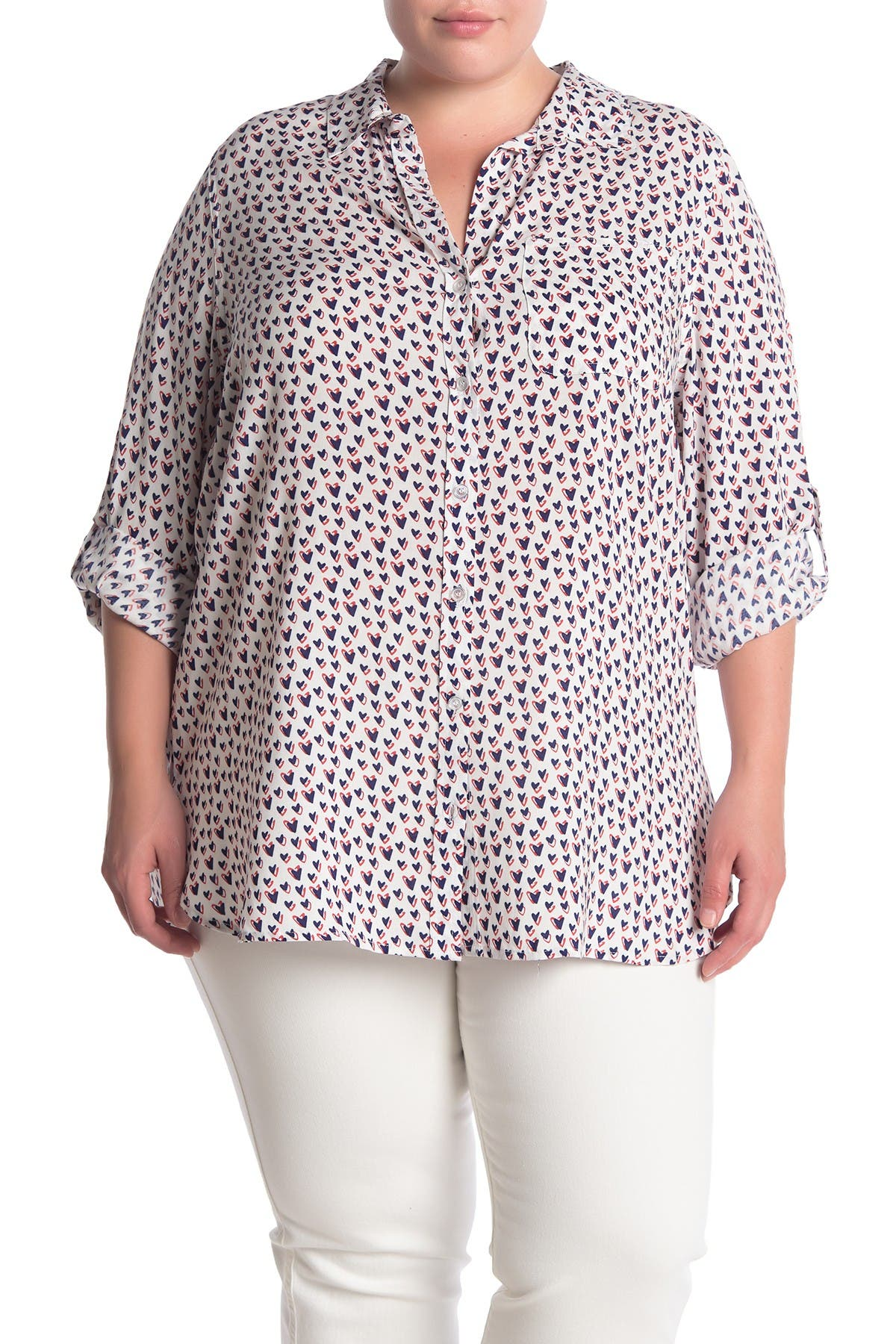 Image of Velvet Heart Elisa Printed Button Tab Sleeve Shirt