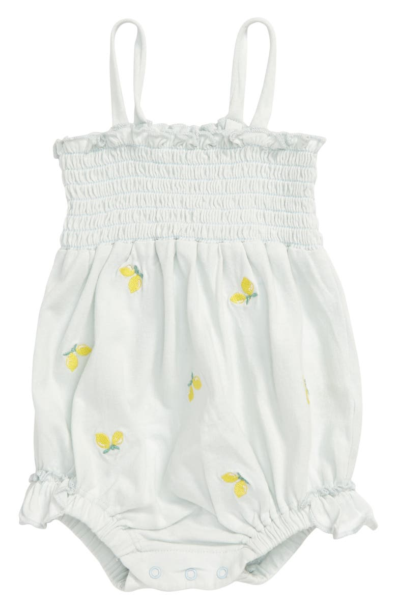 NORDSTROM BABY Lemon Embroidered Smocked Bubble Bodysuit, Main, color, 450