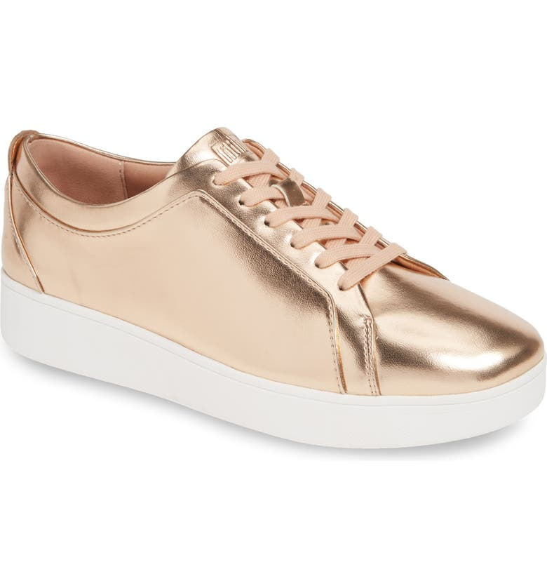 FITFLOP Rally Sneaker, Main, color, ROSE GOLD METALLIC LEATHER