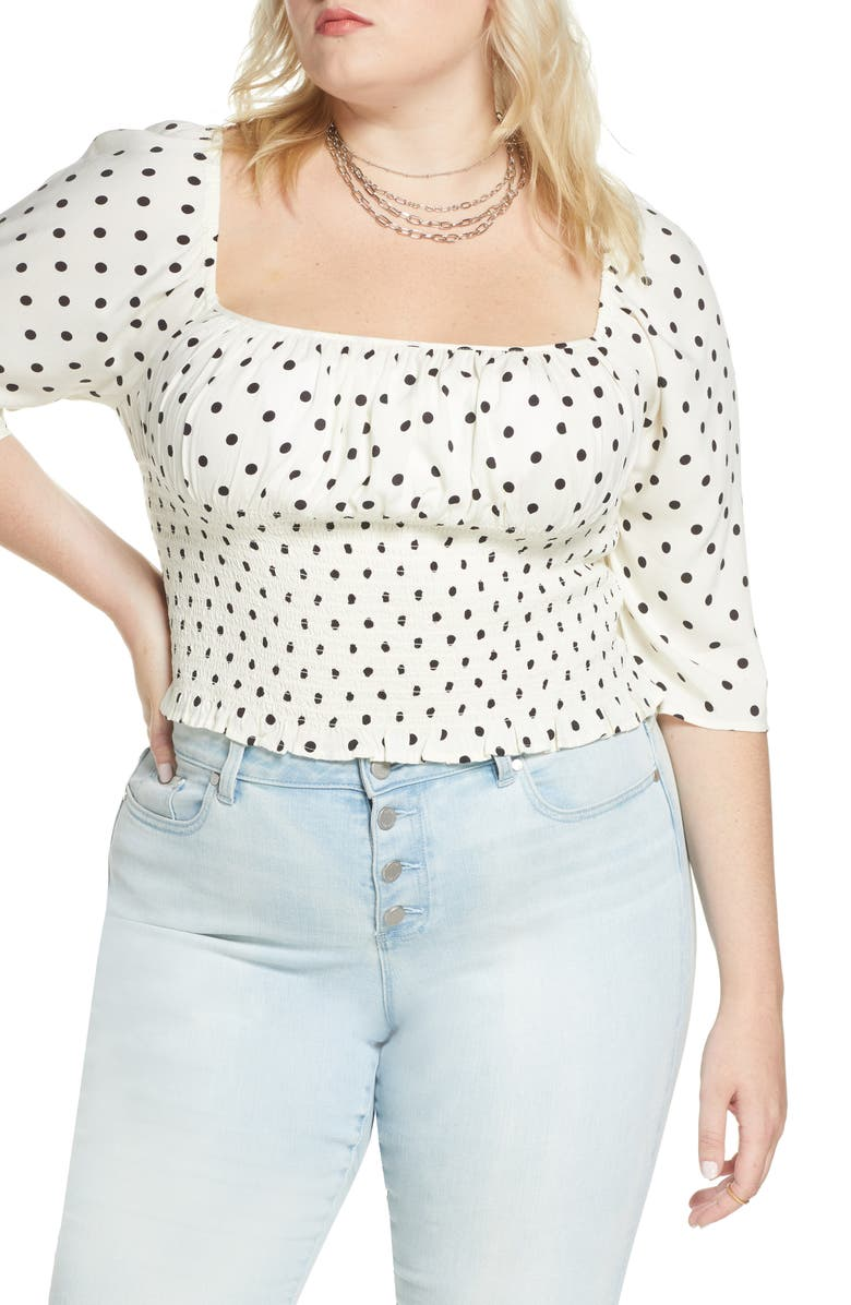 BP. x Claudia Sulewski Print Smocked Top, Main, color, IVORY MID DOT