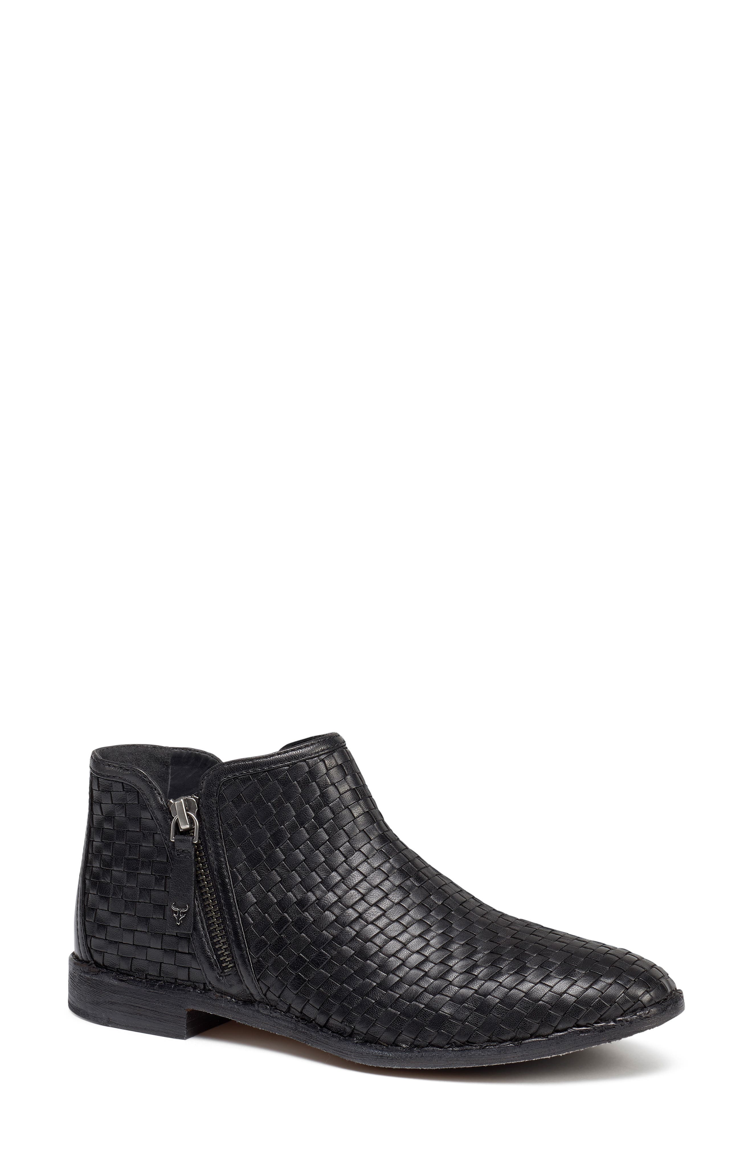 Trask Amy Woven Leather Bootie, Black