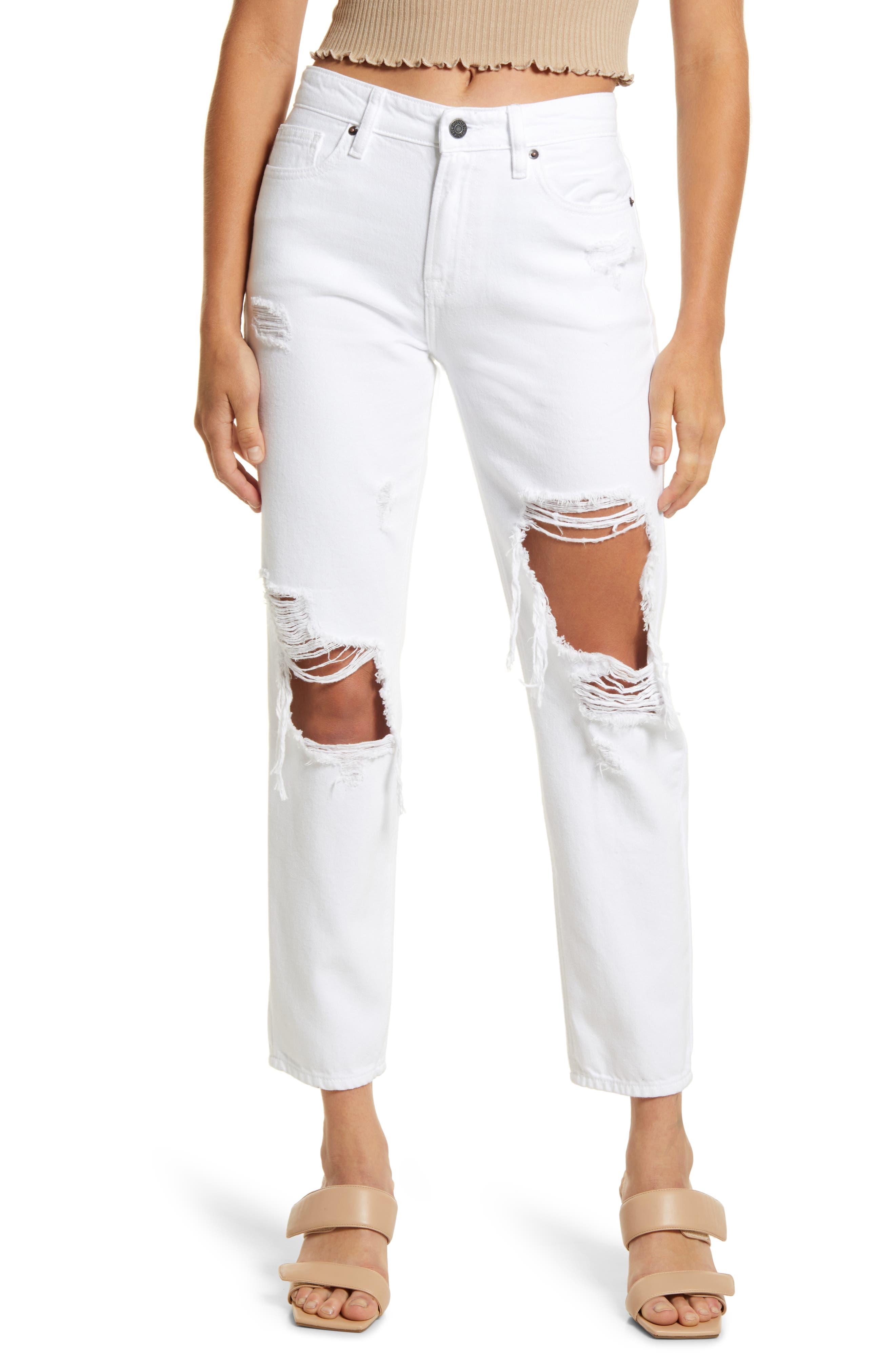 Distressed High Waist Ankle Straight Leg Boyfriend Jeans