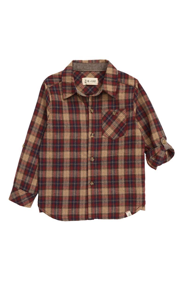ME & HENRY Plaid Button-Up Shirt, Main, color, WINE/ BEIGE PLAID
