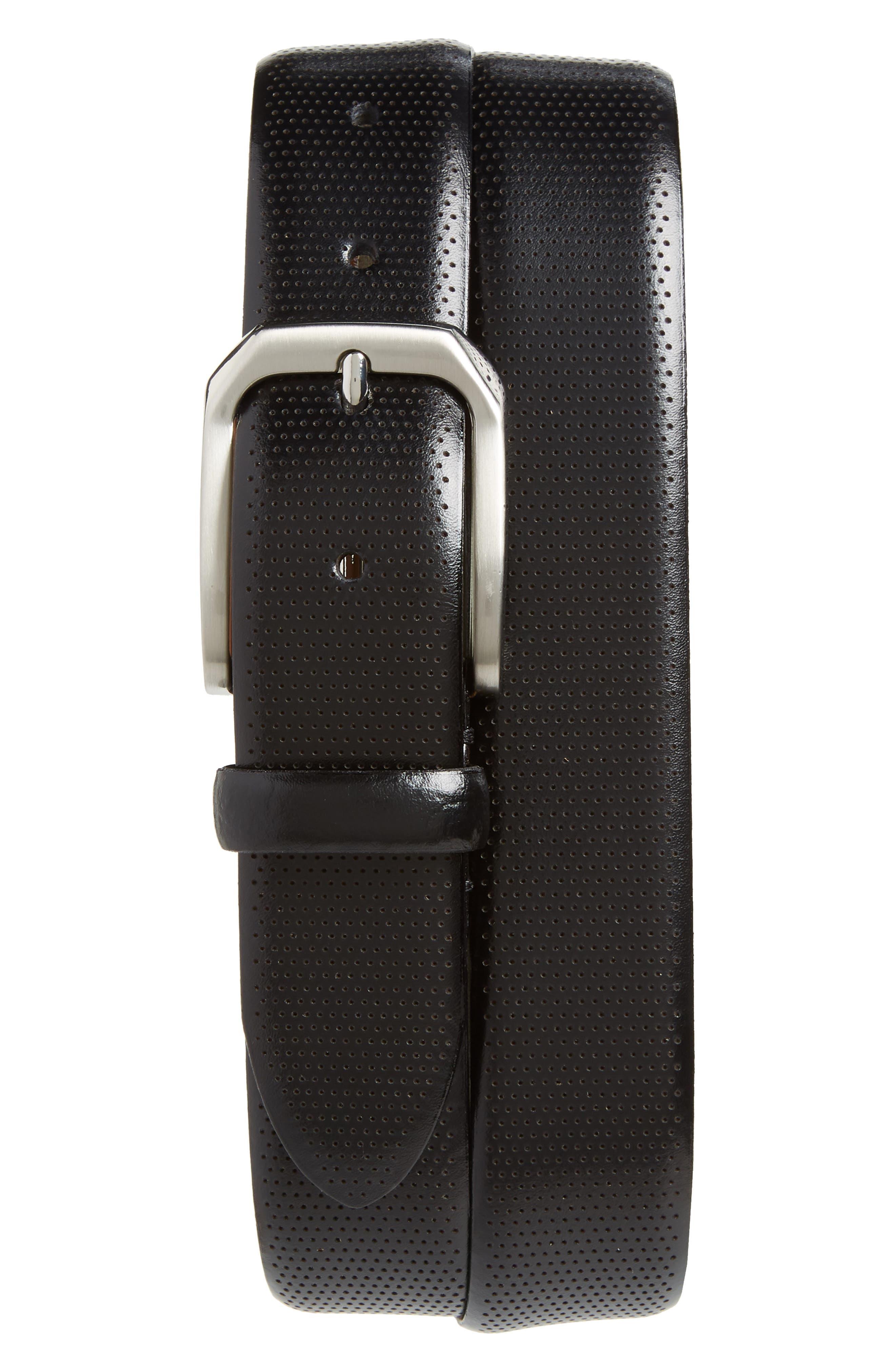 Johnston & Murphy Calfskin Belt, Black
