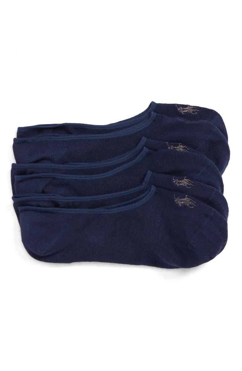 POLO RALPH LAUREN 3-Pack Supersoft Liner Socks, Main, color, NAVY