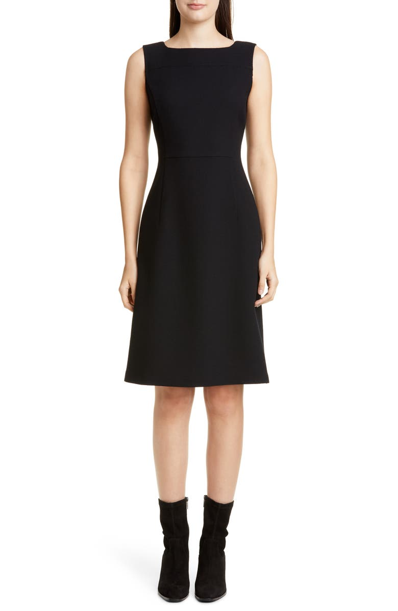 LAFAYETTE 148 NEW YORK Jojo Wool Crepe Sheath Dress, Main, color, BLACK