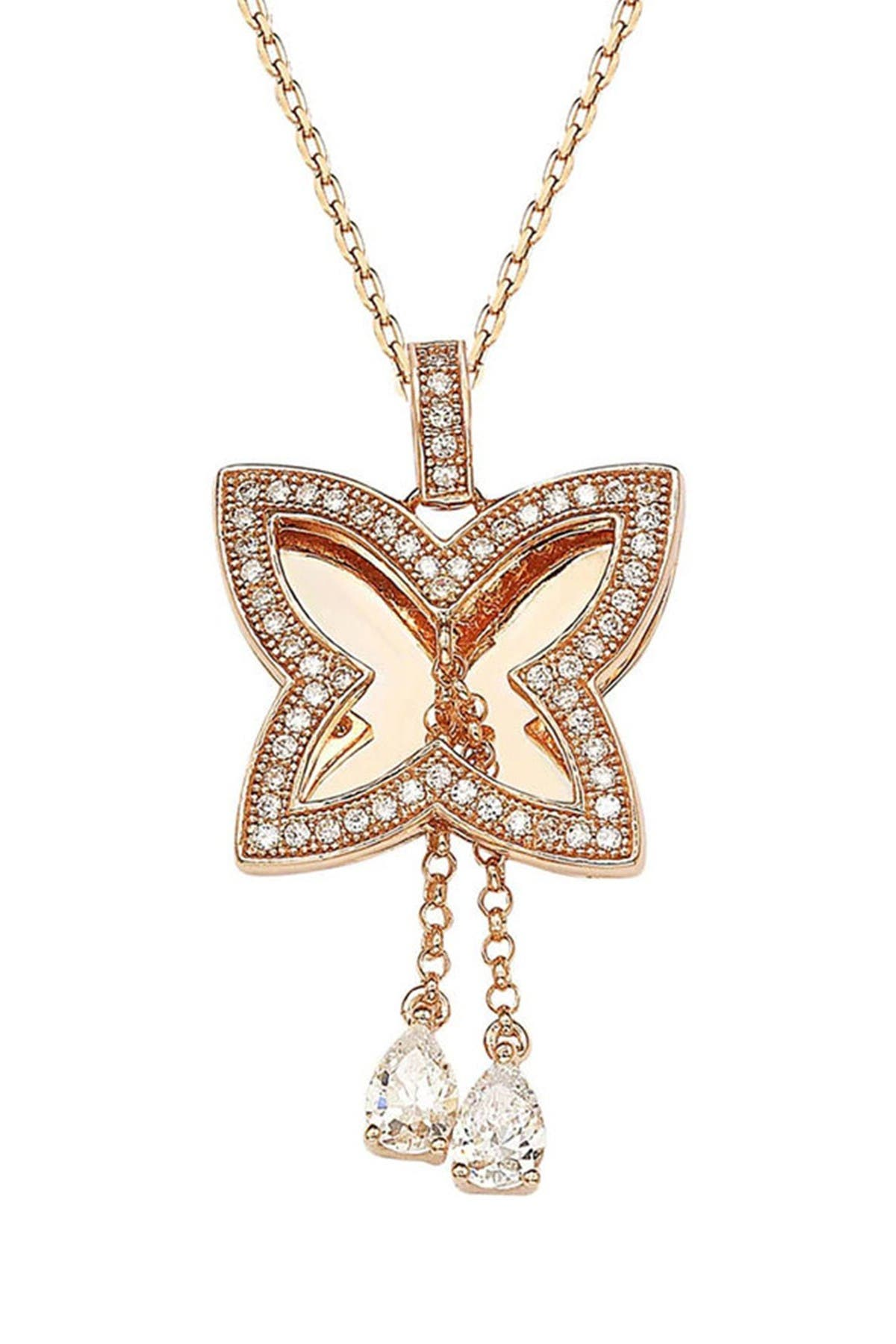 Image of Suzy Levian Rose Rhodium Plated Sterling Silver White CZ Butterfly Pendant Necklace